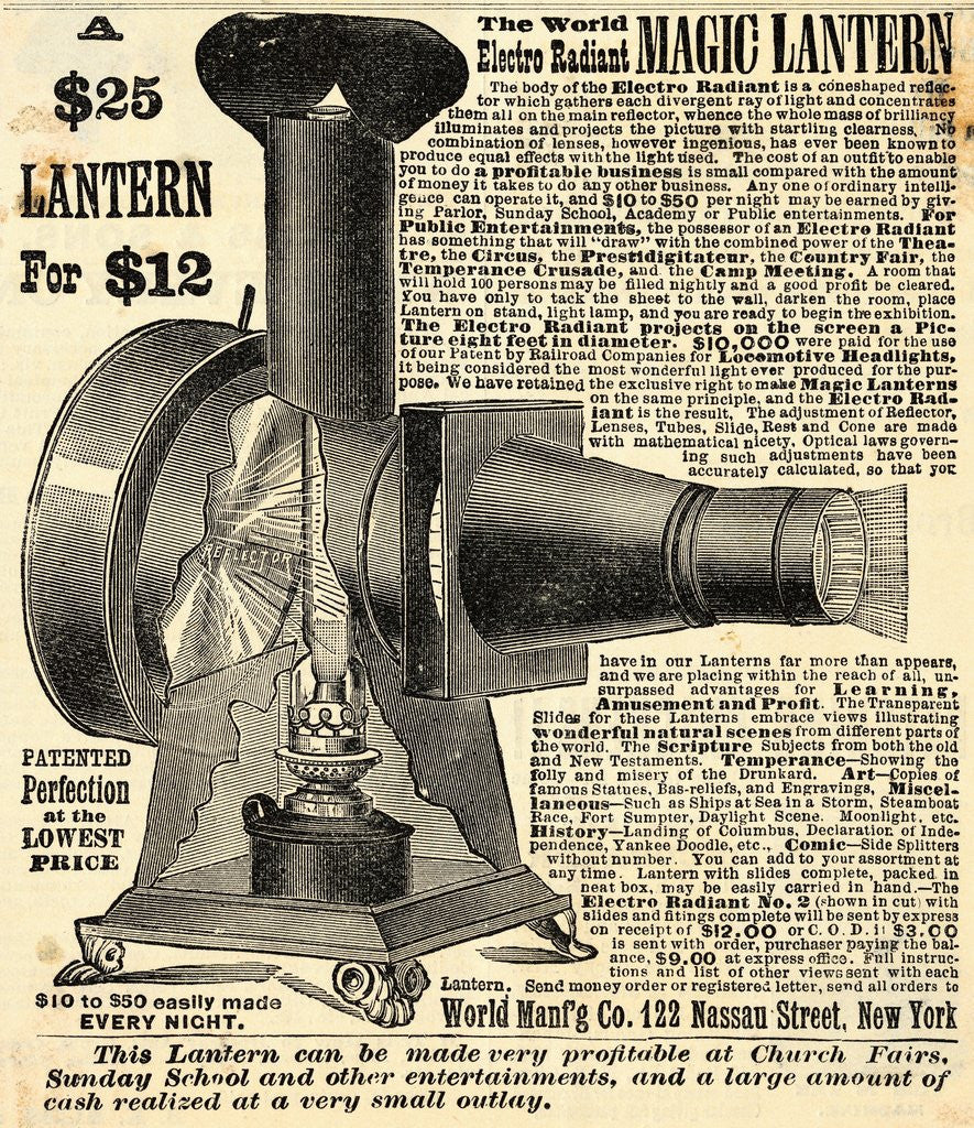 Detail of Ad for an Early Film Projector by Corbis