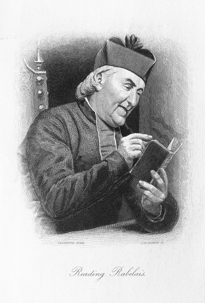 Detail of Clergyman Reading a Work of Rabelais by Corbis