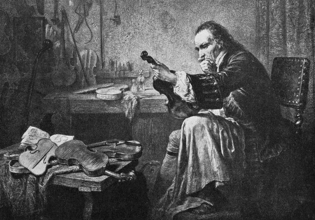 Detail of Violin Designer Antonio Stradivari at Work by Corbis