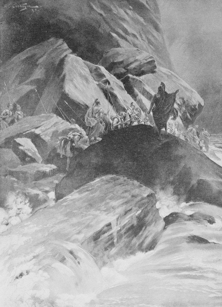 Detail of Army Traveling through Mountains by Corbis
