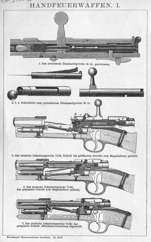Detail of Cross Sections Of Gun Parts/Illust by Corbis