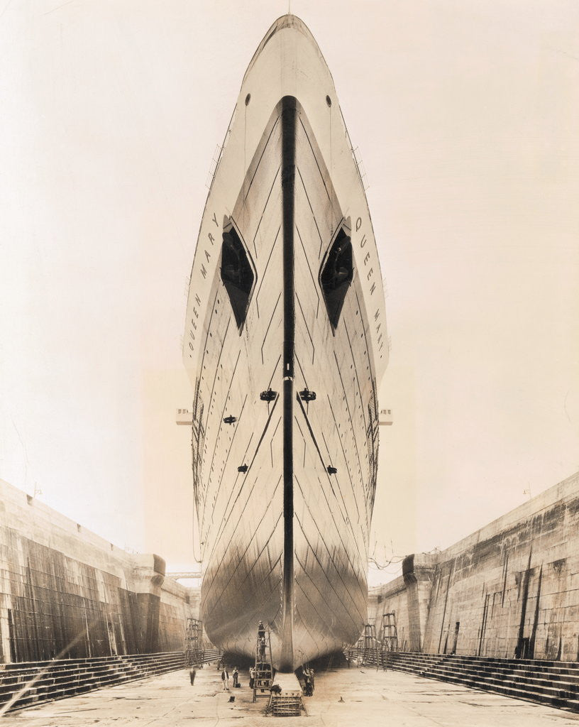 Detail of Bow of Queen Mary in Drydock by Corbis