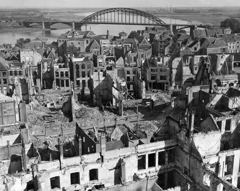 Detail of Aerial View of War Torn Buildings in Nijmegen by Corbis