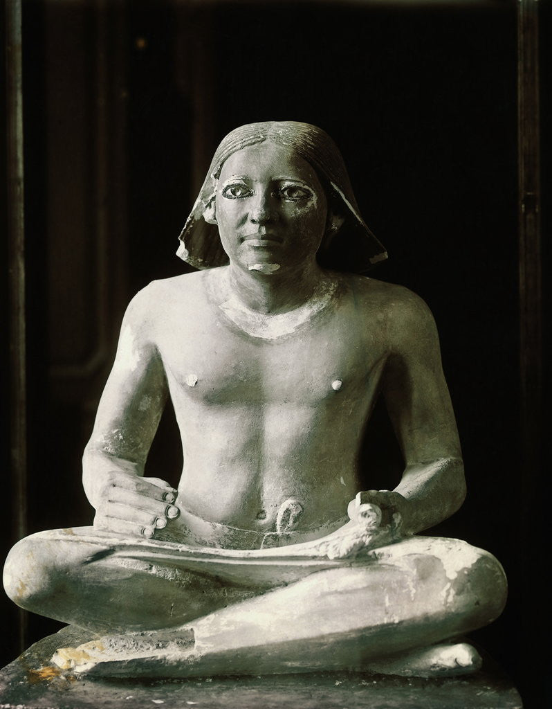 Detail of Boulak Museum Ancient Egyptian Statue of Seated Scribe by Corbis