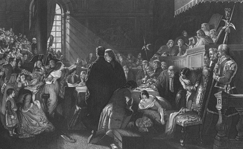 Detail of Early Courtroom Scene by Corbis