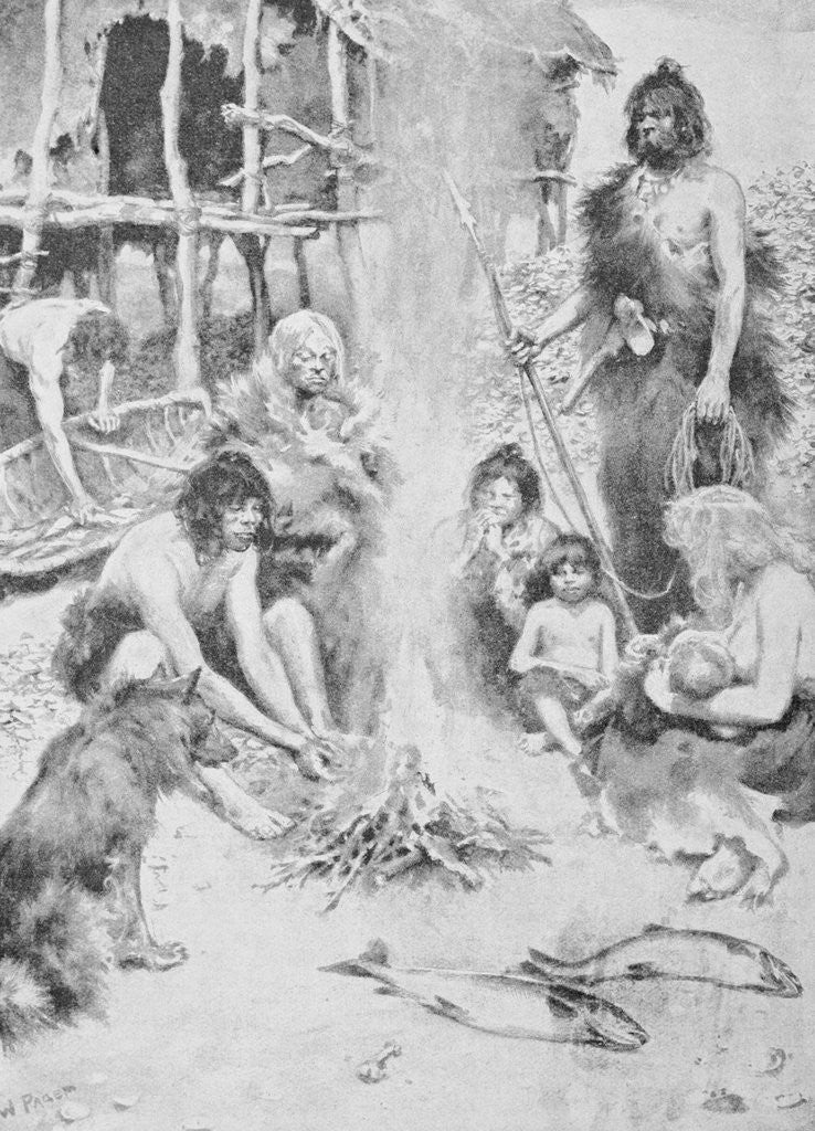 Detail of Prehistoric Family Surrounding Fire by Corbis