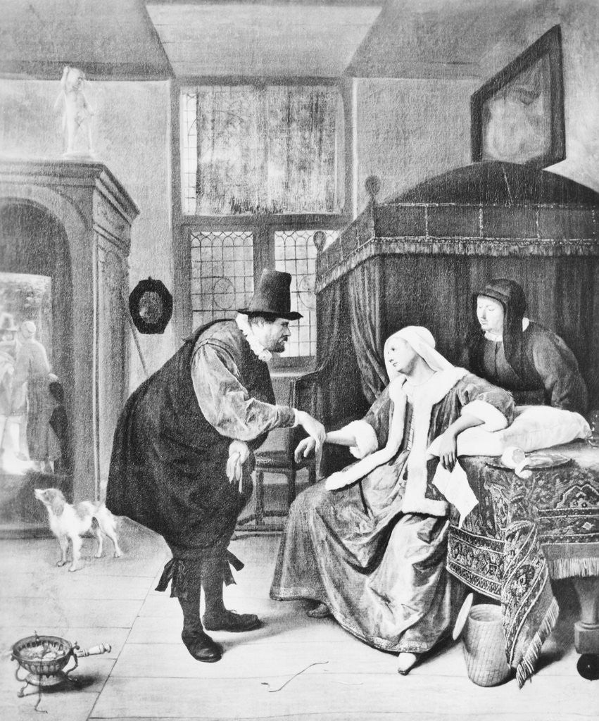 Detail of Doctor Visiting Woman by Corbis