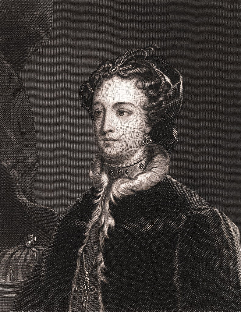 Drawing of Mary Stuart in Outerwear and Boarding Boat by Corbis