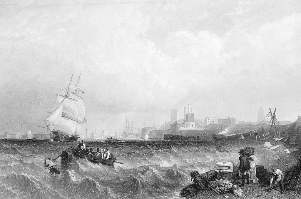 Detail of Choppy Seas in Portsmouth Harbor by Corbis