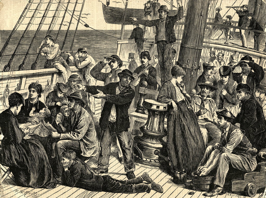Detail of Emigrants on Shipdeck by Corbis