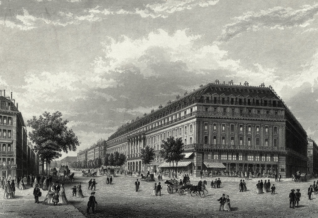 Detail of Engraving of Grand Hotel in Paris by Corbis
