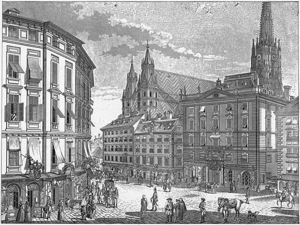 Detail of Engraving of Eisenstadt Town Square by Corbis