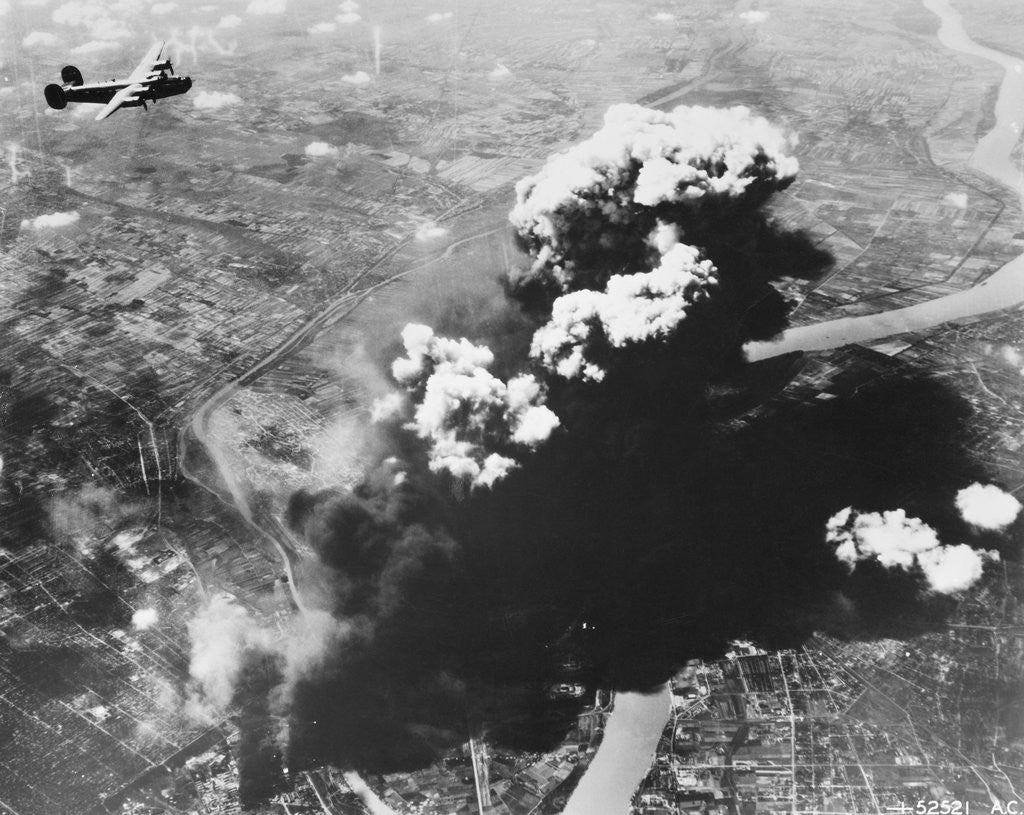 Bombers Attacking Oil Refineries by Corbis