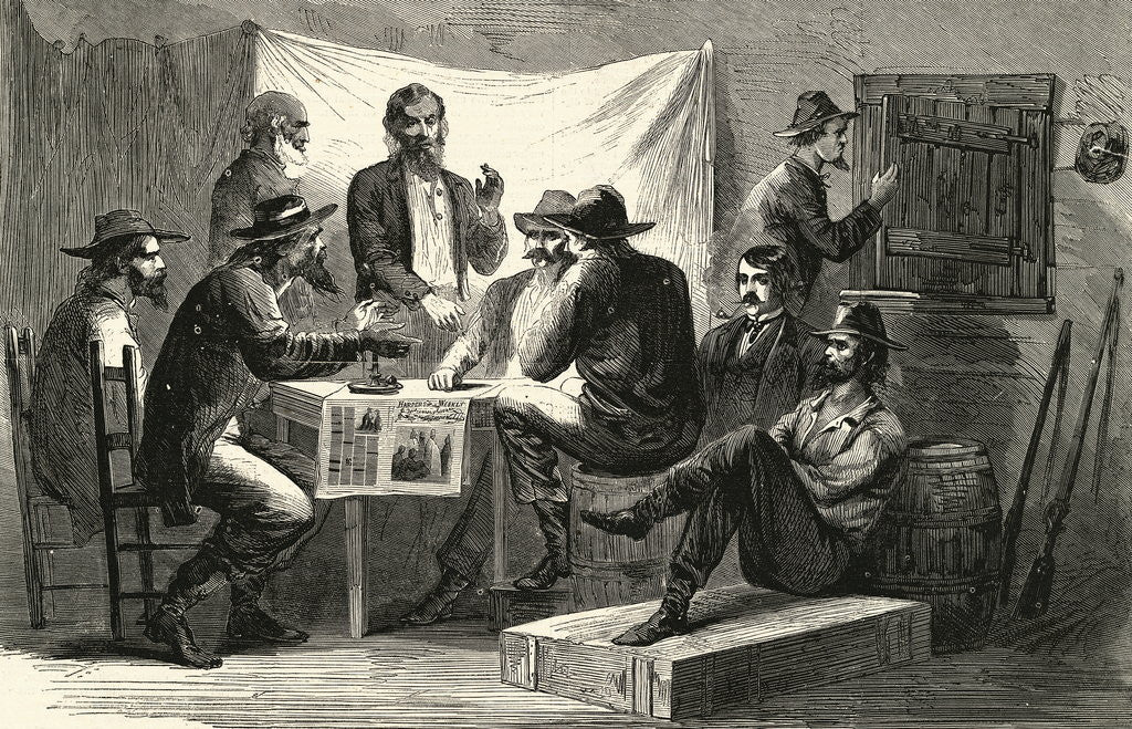 Detail of Engraving of Secret Meeting During Civil War by Corbis