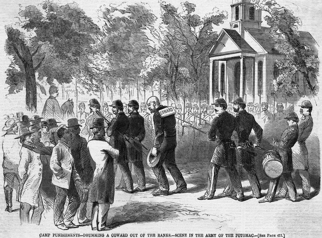 Detail of Engraving of Civil War Camp Punishment for Coward by Corbis