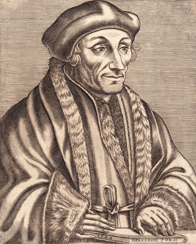 Detail of Illustration of Scholar Erasmus Desiderius with Book in Hand by Corbis