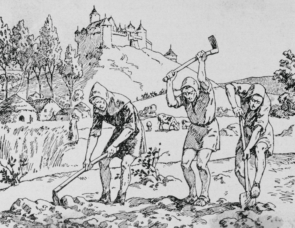 Detail of Serfs Toiling in the Field by Corbis