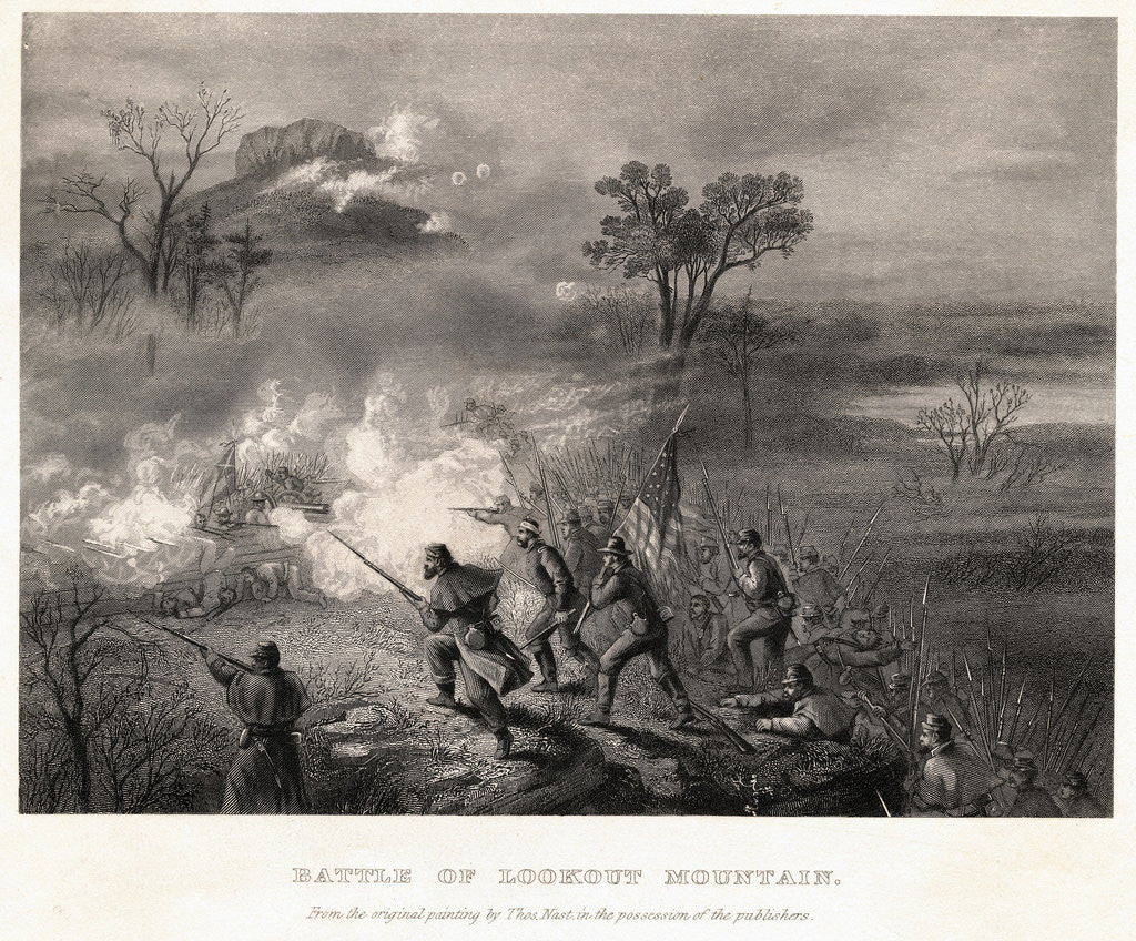 Detail of Civil War Scene at Battle of Lookout Mountain by Corbis