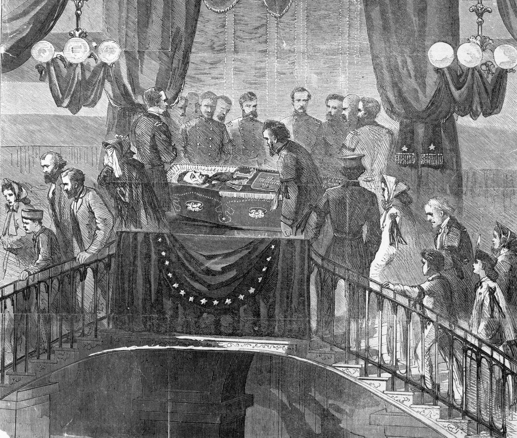 Detail of Drawing of Abraham Lincoln Funeral by Corbis