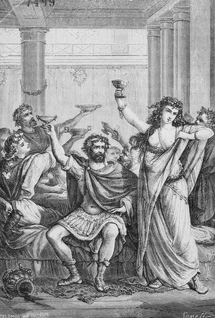 Detail of Engraving of Hannibal and His Men Celebrating in Capua by Corbis