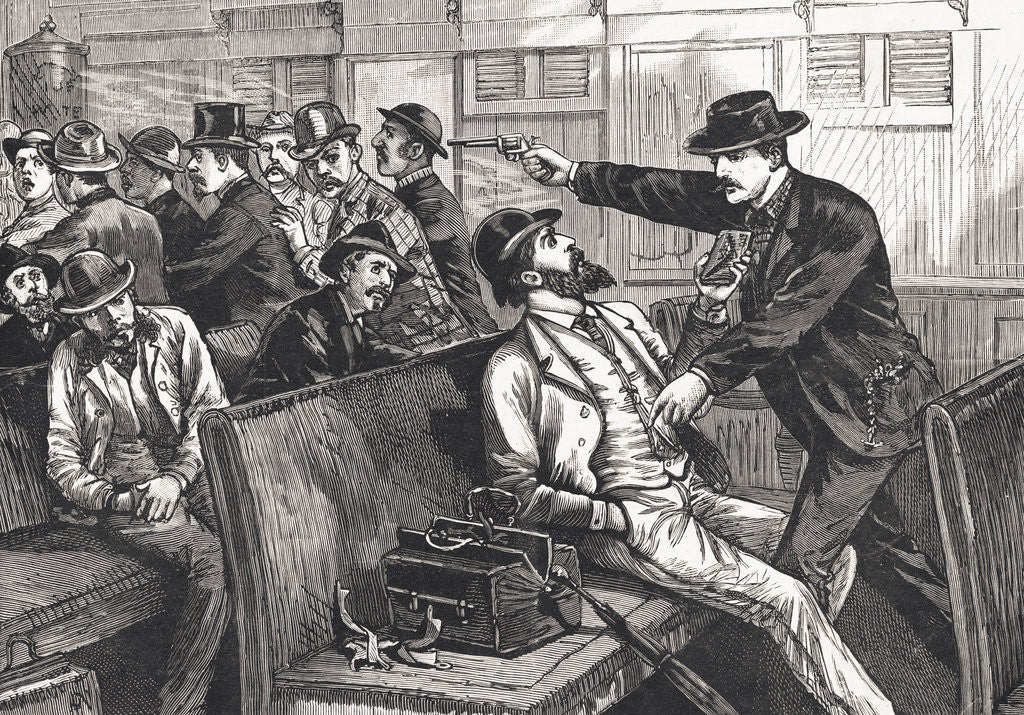 Detail of Illustration of Train Robbery in Progress by Corbis