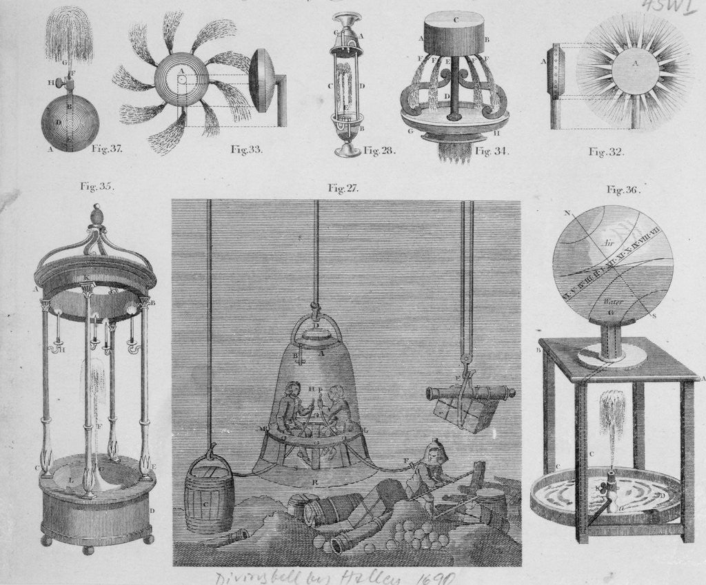 Detail of Engravings of Diving Bell by Corbis