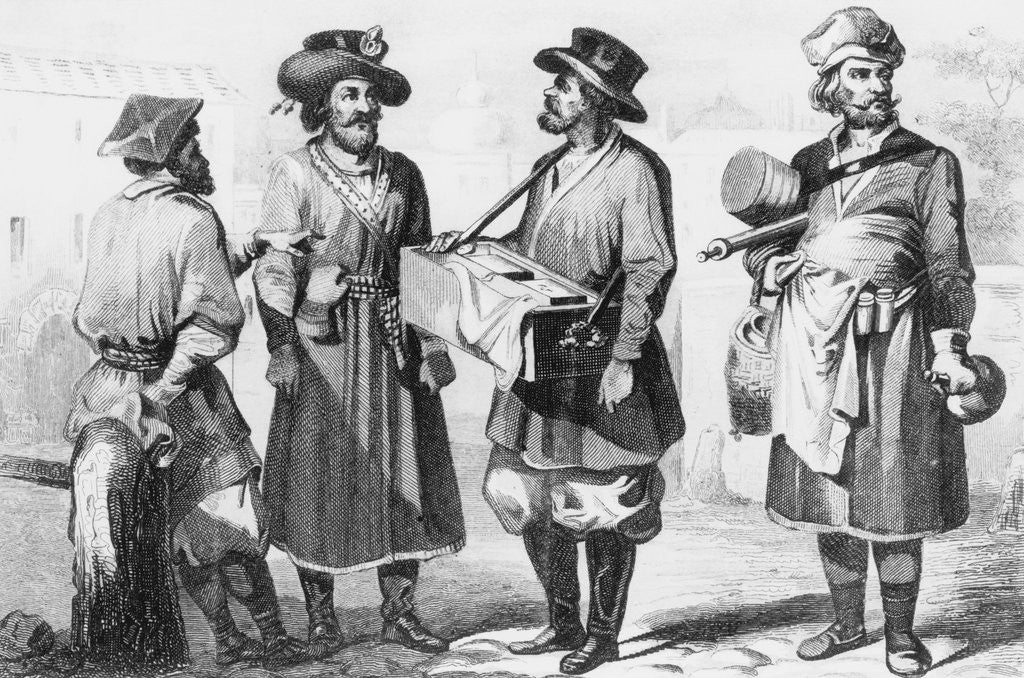 Detail of Engraving of Russian Merchants by Corbis