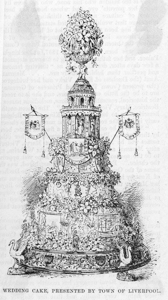Detail of Drawing of Wedding Cake Print by Corbis