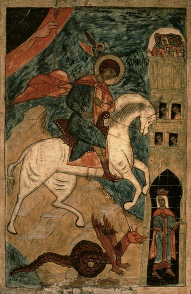 Detail of St. George and the Dragon, Russian icon from Vologda, 15th century by Russian School