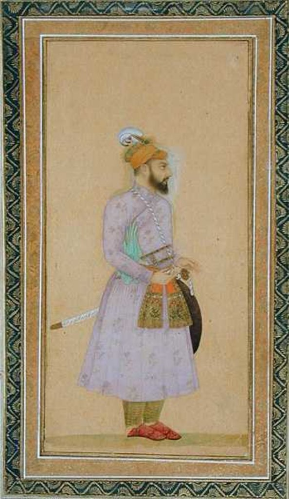Detail of Standing figure of a Mughal prince by Mughal School