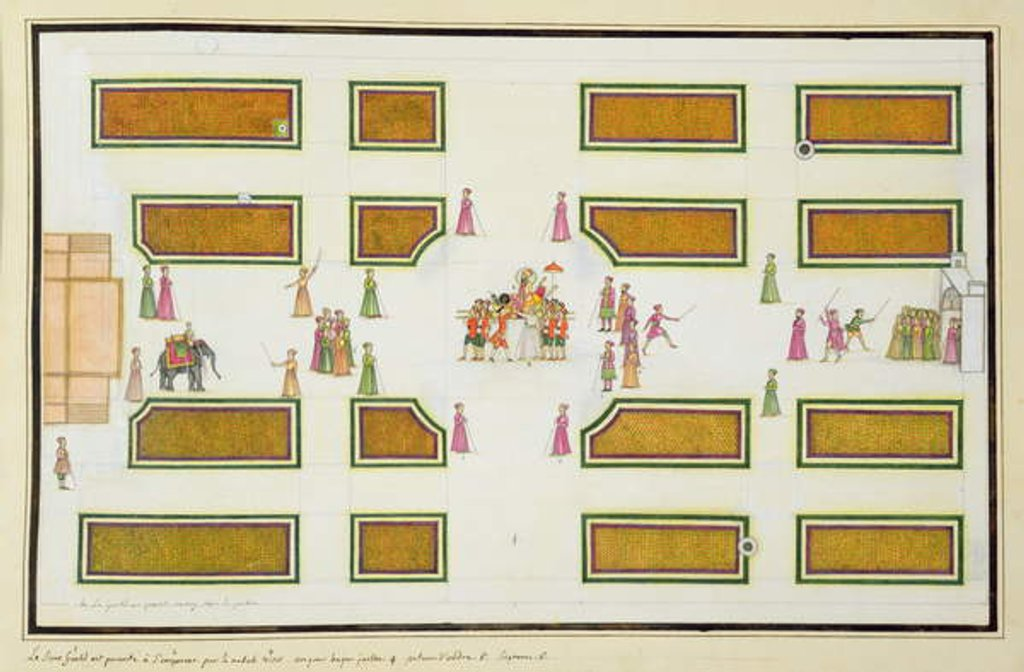 Presentation of Gentil by Nawab Shuja ud-Daula to Emperor Shah Alam in Angur Bagh by French School