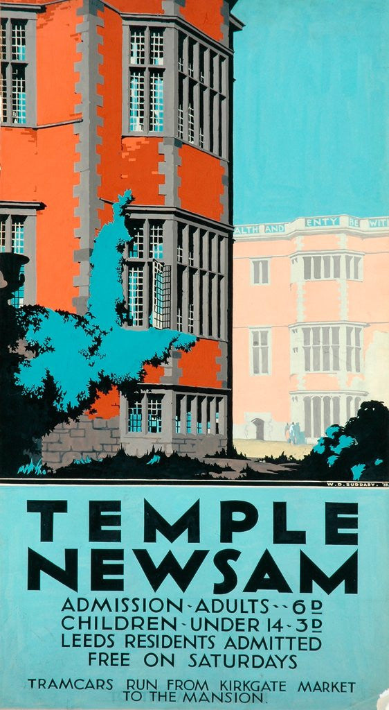 Detail of Poster design for Temple Newsam by W. D. Suddaby