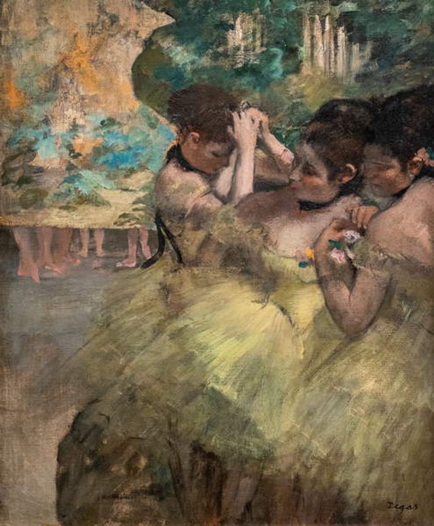 Detail of Behind the scenes. 1874-1876. Oil on canvas. by Edgar Degas
