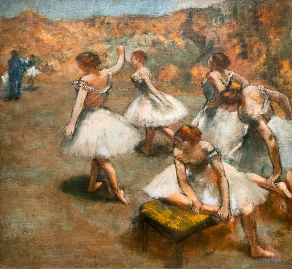 Detail of Dancers on the stage. Around 1889-1894. Oil on canvas. by Edgar Degas