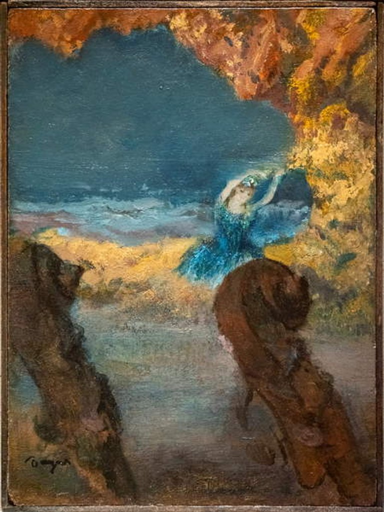 Detail of Blue dancer and double bass. 1891. Oil on wood by Edgar Degas