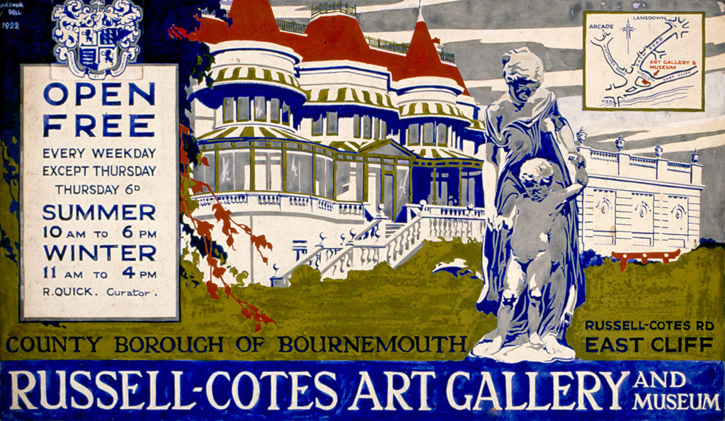 Detail of 1922 Design for a Poster for the Russell-Cotes Art Gallery & Museum by Arthur Bell