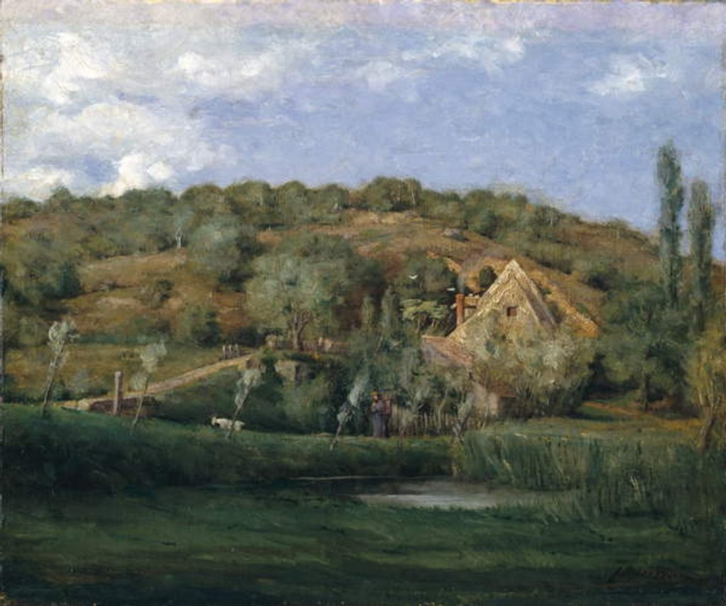Detail of A French Homestead, 1878 by Julian Alden Weir