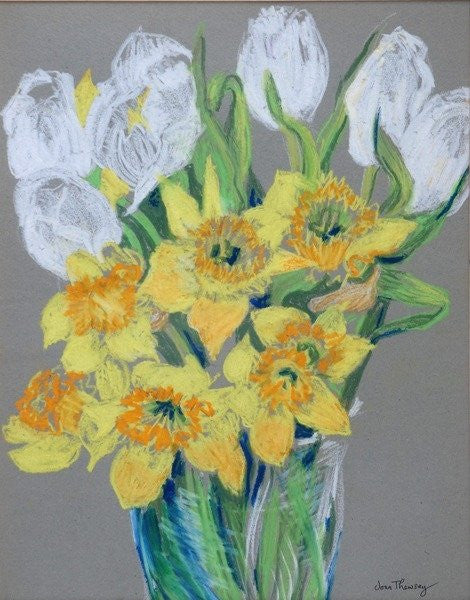 Detail of Daffodils and White Tulips by Joan Thewsey