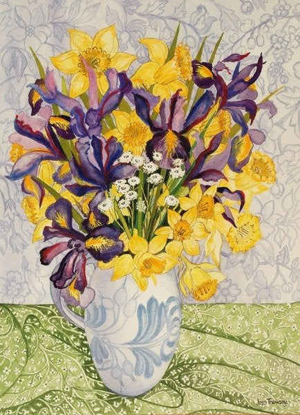 Detail of Iris and Daffodils with Patterned Textiles by Joan Thewsey