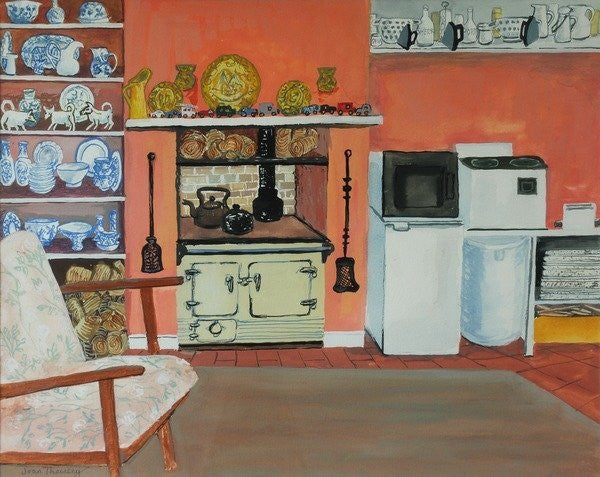 Detail of Cottage Kitchen,Red Cottage Studios,Suffolk with Rayburn by Joan Thewsey