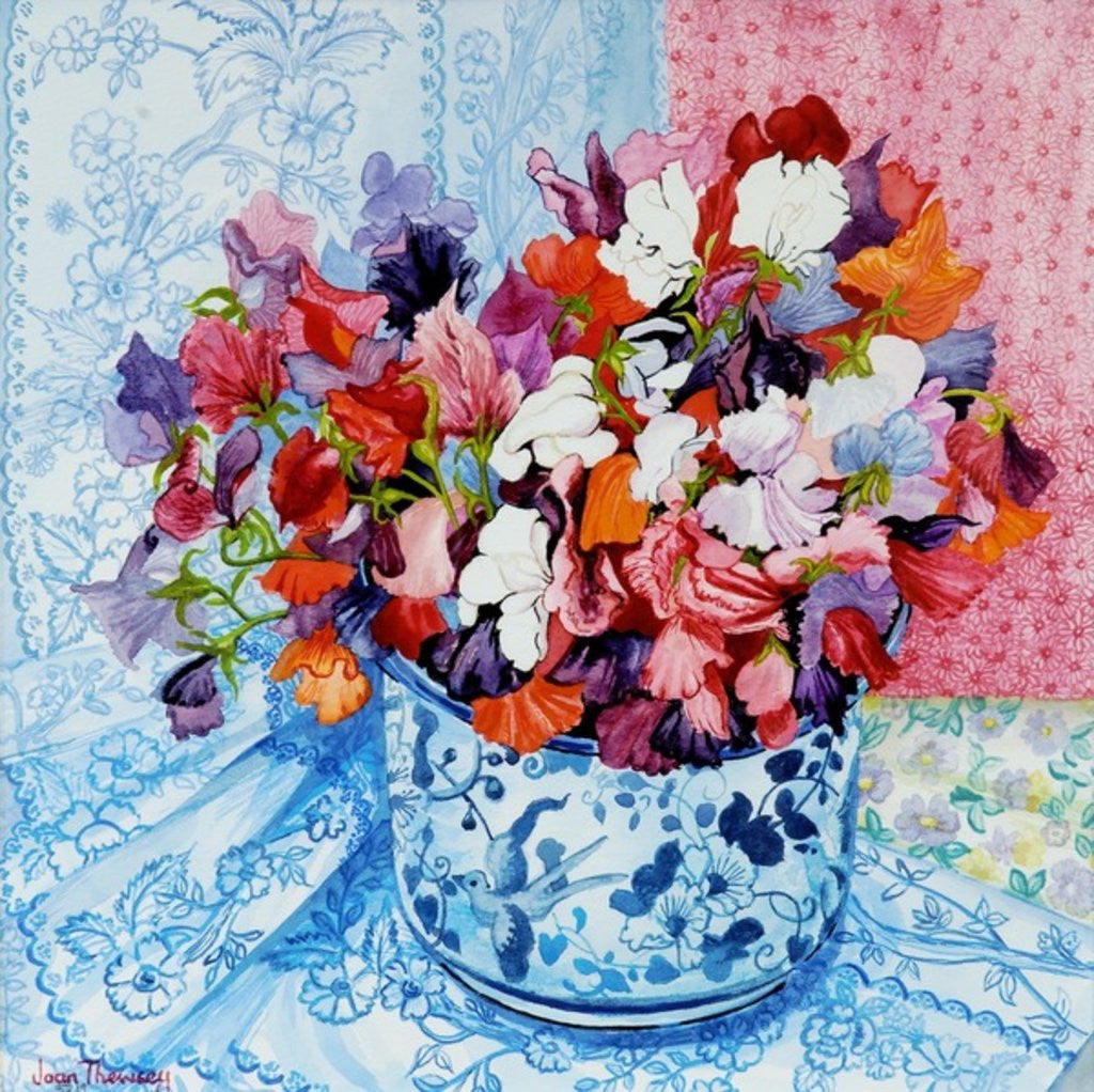 Detail of Tulips and Anemones with a Pot of Violets by Joan Thewsey