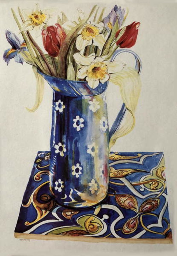 Detail of Tulips, Iris and Narcissus in a Blue Enamel Jug with an Italian Tile by Joan Thewsey