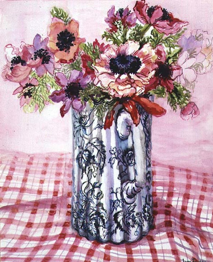 Detail of Anemones in a Victorian Flowered Jug by Joan Thewsey