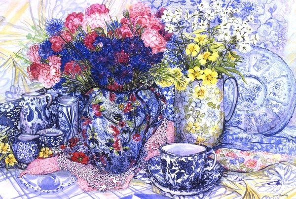 Detail of Cornflowers with Antique Jugs and Patterned Fabrics by Joan Thewsey
