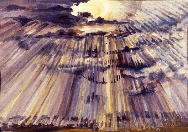Detail of Large Sky, Sunshine through raindrops by Joan Thewsey