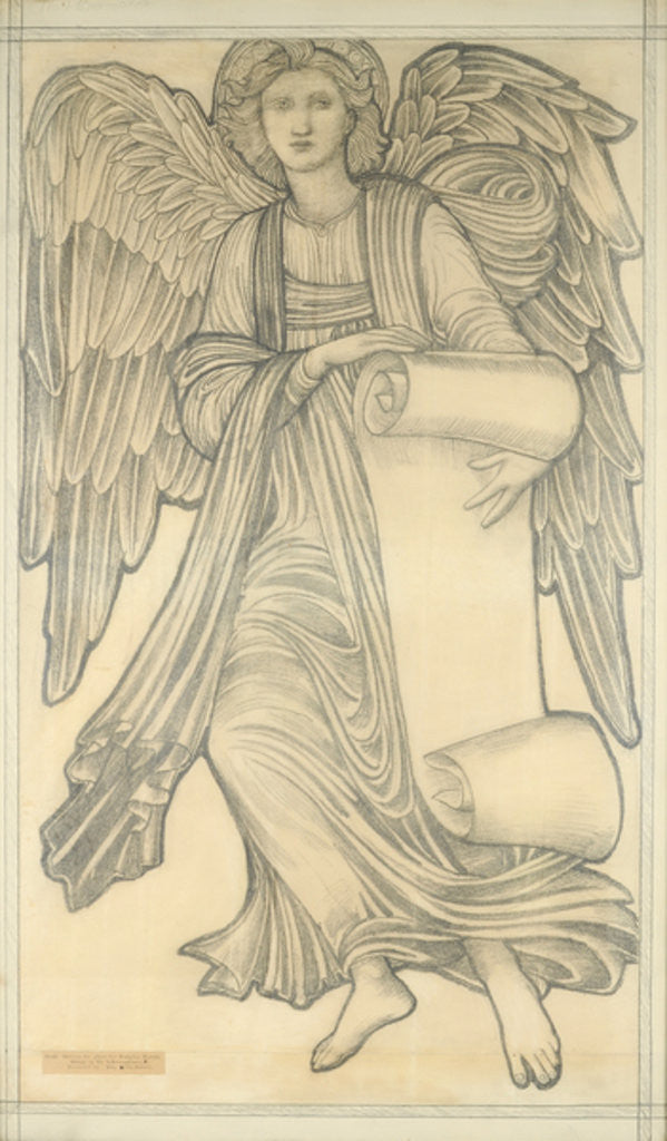 Detail of Angel with Scroll - figure number nine by Sir Edward Coley Burne-Jones