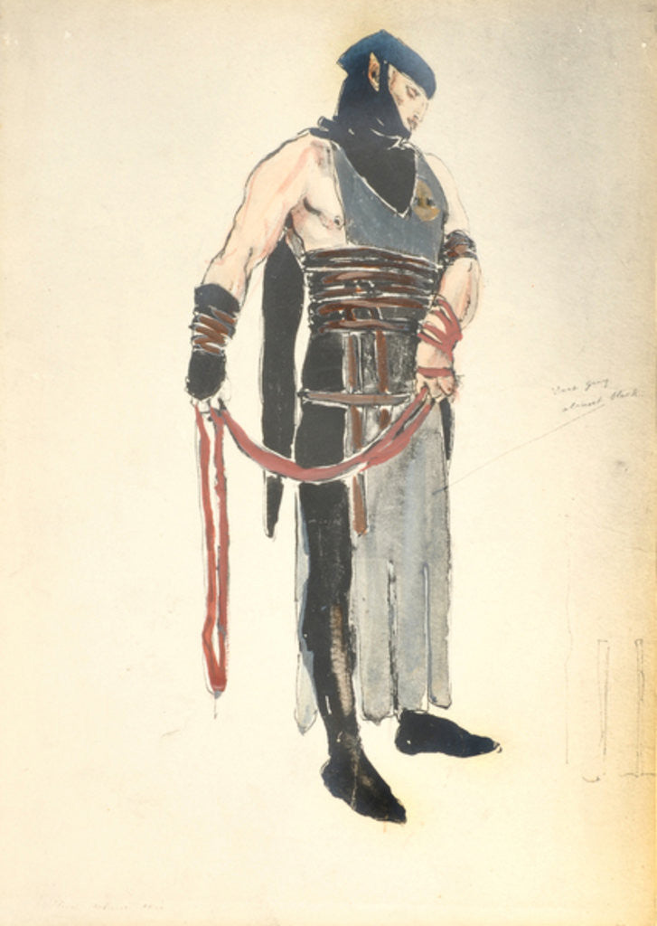 Detail of Costume Design for the Queen's Servant in 'Le Mort de Tintagiles' by Charles Ricketts