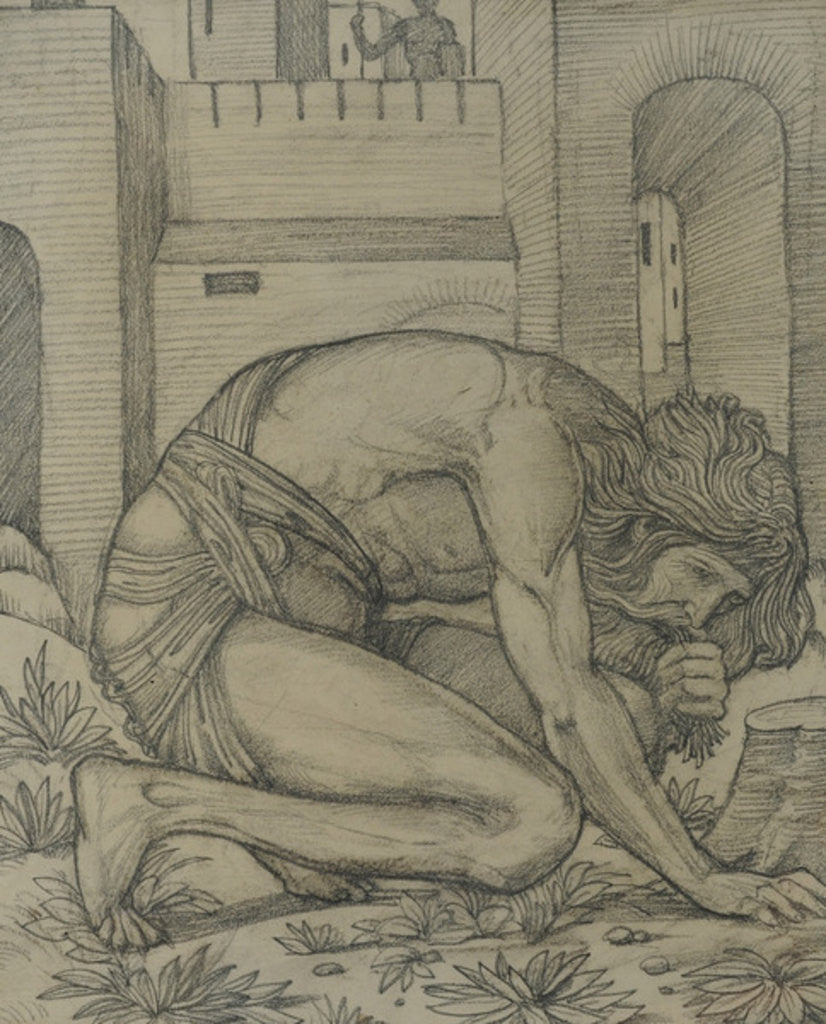 Detail of Nebuchadnezzar Eating Grass by Sir Edward Coley Burne-Jones