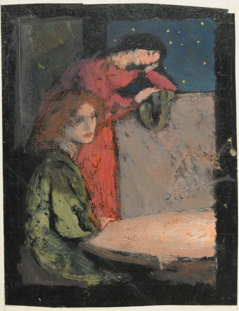 Two Girls by a Table Look out on a Starry Night