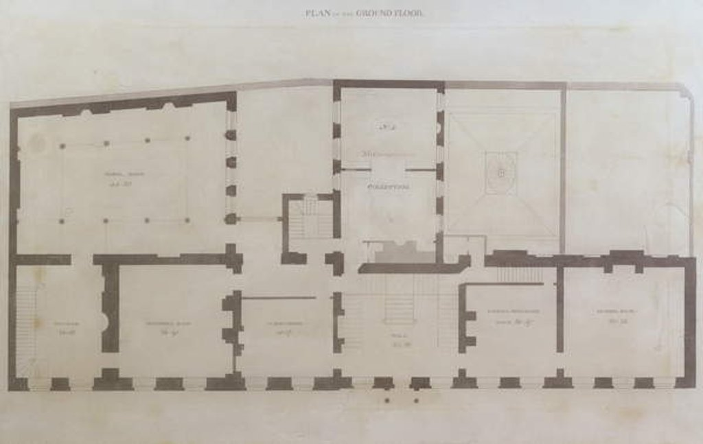 Detail of Plans of the ground floor of 21 Albemarle Street after the initial alterations to the house after its acquisition by the Royal Institution by English School